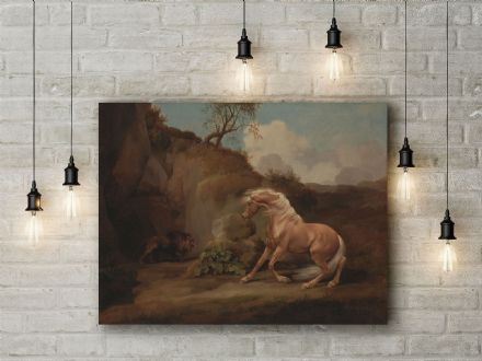 George Stubbs: Horse Frightened by a Lion. Fine Art Canvas.